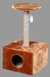 ДАРЭЛЛ Домик-когтеточка для кошки, 2-х уровневый. квадратный, 44х44х81см