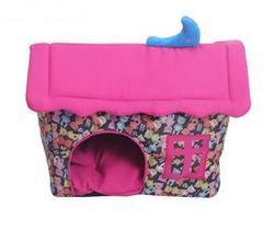 Lion Домик- лежак для собак и кошек сиренево/розовый Мишки, размер 55х45х45см, с игрушкой