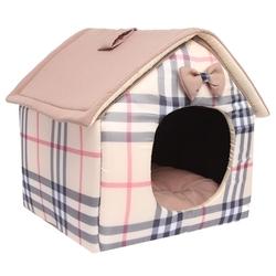 Lion Домик «Будка» для маленьких собак и кошек шотландка бежевая S