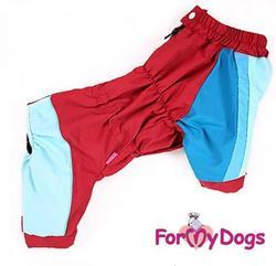 ForMyDogs Дождевик для боксера, хаски, добермана, цвет синий/красный, модель для мальчика, размер С1, спина 55см
