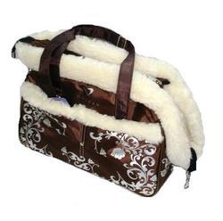 DOGMAN Сумка -переноска для собак модельная №5М с мехом, коричневая, 40х17,5х22,5см.