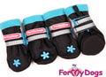 """ForMyDogs Ботиночки зимние для собак на флисе из непромокаемого нейлона, цвет черный с голубым """"Стразы"""", размер №0"""