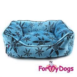 """ForMyDogs Лежак для собак """"Звезды"""", синий плюш, размер L 60х45х25см"""