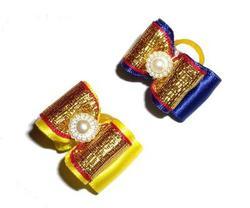 Lukky Бантик для собак на латексной резинке, желтый/синий золото, 2шт в уп