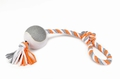 """Beeztees Игрушка для собак """"Петля с мячом"""" текстиль, серо/белая"""