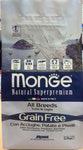MONGE Dog GRAIN FREE беззерновой корм для собак всех пород анчоусы c картофелем и горохом, сух.