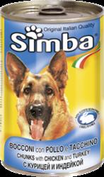 MONGE Simba Dog консервы для собак кусочки курица с индейкой 1230 г