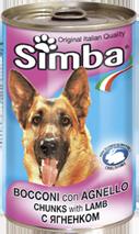 MONGE Simba Dog консервы для собак кусочки ягненок 1230 г
