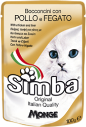 MONGE Simba Cat Pouch паучи для кошек курица с печенью 100 г