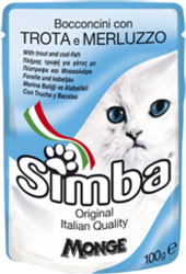 MONGE Simba Cat Pouch паучи для кошек форель с треской 100 г
