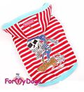 ForMyDogs Майка трикотажная с капюшоном, красно/белая, размер 8
