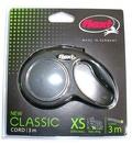Flexi Рулетка New Classic Mini (до 8 кг) 3 м трос черная.