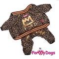 """ForMyDogs Костюм для собак """"Леопард"""" из мягкого трикотажа без капюшона, коричневый, размер 8№, №18"""