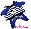 """ForMyDogs Костюм для собак """"Морской пес"""" из трикотажа без капюшона, размер 8, 14, 16 цвет синий"""