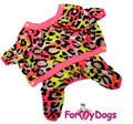 "ForMyDogs Костюм для собак ""Леопард"" розовый из мягкого трикотажа без капюшона, размер 8, 12, 16"