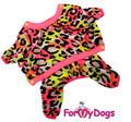 "ForMyDogs Костюм для собак ""Леопард"" розовый из мягкого трикотажа без капюшона, размер 8, 16"