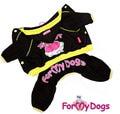 """ForMyDogs Костюм для собак """"Вишенка"""" черный из трикотажа с капюшоном, размер 16"""