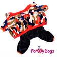 """ForMyDogs Костюм для собак """"Милитари"""" из серии """"Luxury"""" велюровый с капюшоном, размер 12"""