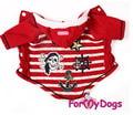 """ForMyDogs Толстовка для собак """"Пират"""" красная из трикотажа с капюшоном, размер 10"""