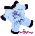 ForMyDogs Комбинезон теплый на меховой подкладке, без капюшона, цвет голубой, модель для девочек, размер 10