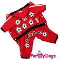 """ForMyDogs Комбинезон для собак Серия """"Футбол""""с капюшоном, красный, модель для девочек, размер 10"""