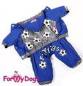 """ForMyDogs Комбинезон для собак Серия """"Футбол"""" синий, модель для мальчиков, размер 14"""