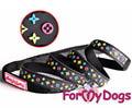 """ForMyDogs Поводок для собак """"Stars"""", цвет черный, размер 13,0ммх1,2м"""