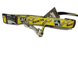 """ForMyDogs Ошейник с поводком """"Macho Dog"""" желтый лаковый, размер ошейника 2,0х35-50см, поводка 2,0 х 120см"""
