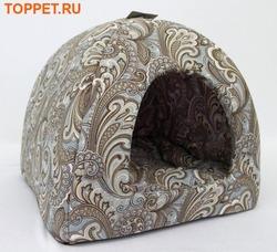"""Бобровый дворик Домик лежак для кошек и собачек, расцветка """"Огурцы"""""""