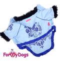 ForMyDogs Куртка для собак на теплой подкладке из меха, цвет голубой, размер 8, 12, 14