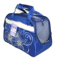 DOGMAN Сумка -переноска для собак модельная №7М с мехом, синяя, 40х19х25см