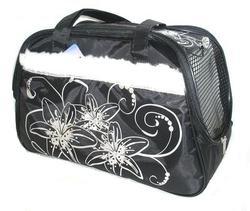 DOGMAN Сумка -переноска для собак модельная №7М с мехом, черная/кристаллы, 40х19х25см.