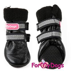 ForMyDogs Ботиночки зимние для собак черные ц/кр, размер №2, №3
