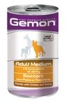 MONGE Gemon Dog Medium консервы для собак средних пород кусочки курицы с индейкой 1250 г