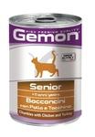 MONGE Gemon Cat консервы для пожилых кошек кусочки курицы с индейкой 415 г