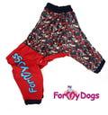 ForMyDogs Дождевик для средних пород собак красный/серый, модель для девочек, размер А2
