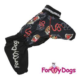 """ForMyDogs Дождевик для больших пород собак """"Тигр"""" черный, модель для мальчиков, размер С3, D1"""
