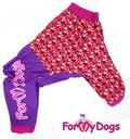 ForMyDogs Дождевик для больших пород собак красный/фиолетовый, модель для девочки, размер D1