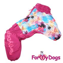 ForMyDogs Комбинезон для собак из плотного водоотталкивающего полиэстера на меховой подкладке и синтепоне, модель для девочек, размер D1