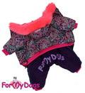 ForMyDogs Комбинезон для девочек из водооталкивающего полиэтера с принтом «Пейсли», на шелковой подкладке и синтепоне, фиолетовый, модель для девочек, размер 14