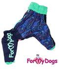 ForMyDogs Дождевик для больших пород собак синий/зеленый, модель для мальчиков, размер С2