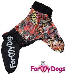 ForMyDogs Дождевик из плотного водоотталкивающего полиэстра, черный/мульти, модель для девочки, размер D1