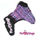 ForMyDogs Теплый комбинезон для больших собак из плотного водонепроницаемого полиэстера фиолетовый, модель для девочки, размер С1, С2
