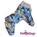 ForMyDogs Теплый комбинезон для крупных собак серый камуфляж, размер С3, модель для мальчиков