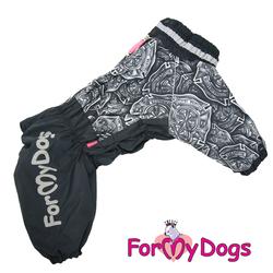 ForMyDogs Теплый комбинезон для больших собак черный, модель для мальчиков, размер C2