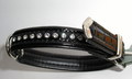 Hunter Ошейник Modern Kroko Luxus 32/11, 24-28см черный лак, стразы Swarovski