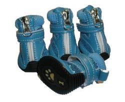 Ботиночки для собак утепленные с блеском, цвет голубой, размер 3