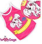 """ForMyDogs Майка для собак породы """"Китайская Хохлатая"""", цвет розовый, размер 16, трикотаж"""