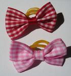 Lukky Бантик для собак на латексной резинке, красная и розовая клетка, 2шт. в упаковке
