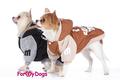 ForMyDogs Куртка теплая на подкладке из полированного меха с трикотажными рукавами, цвет коричневый, размер 12